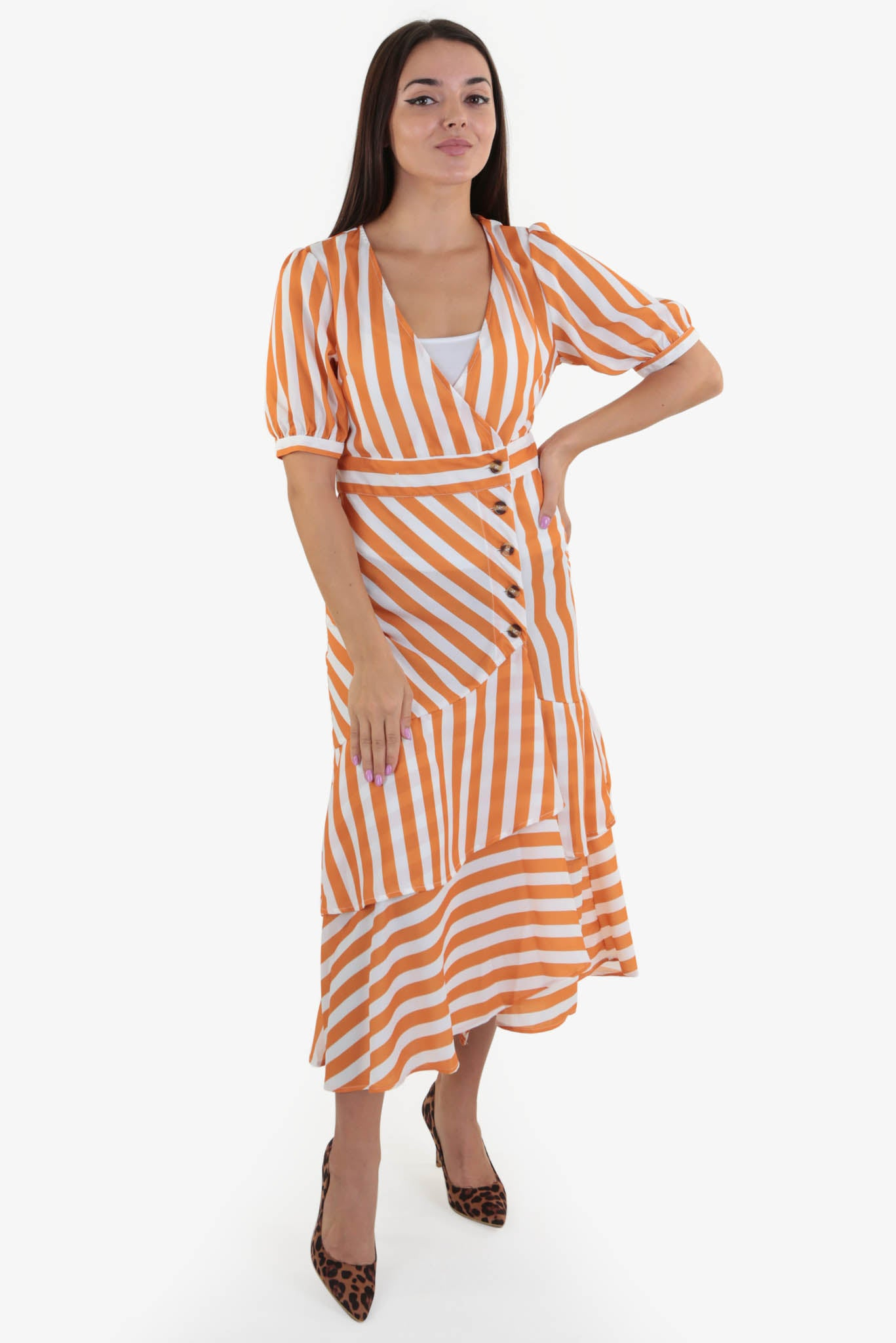 Stripped Summer Dress | Raw Orange