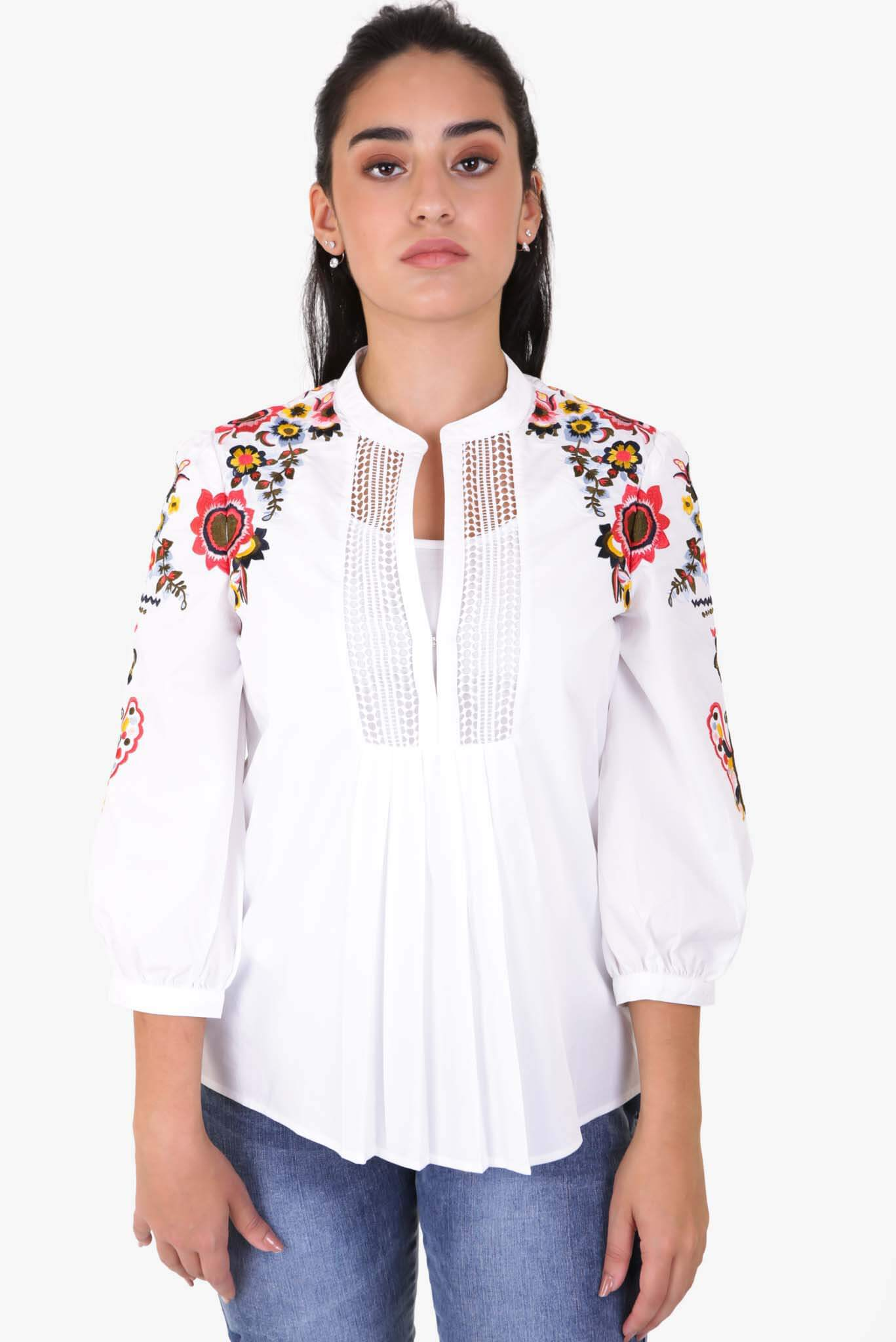 Embroidered Sleeves Blouse