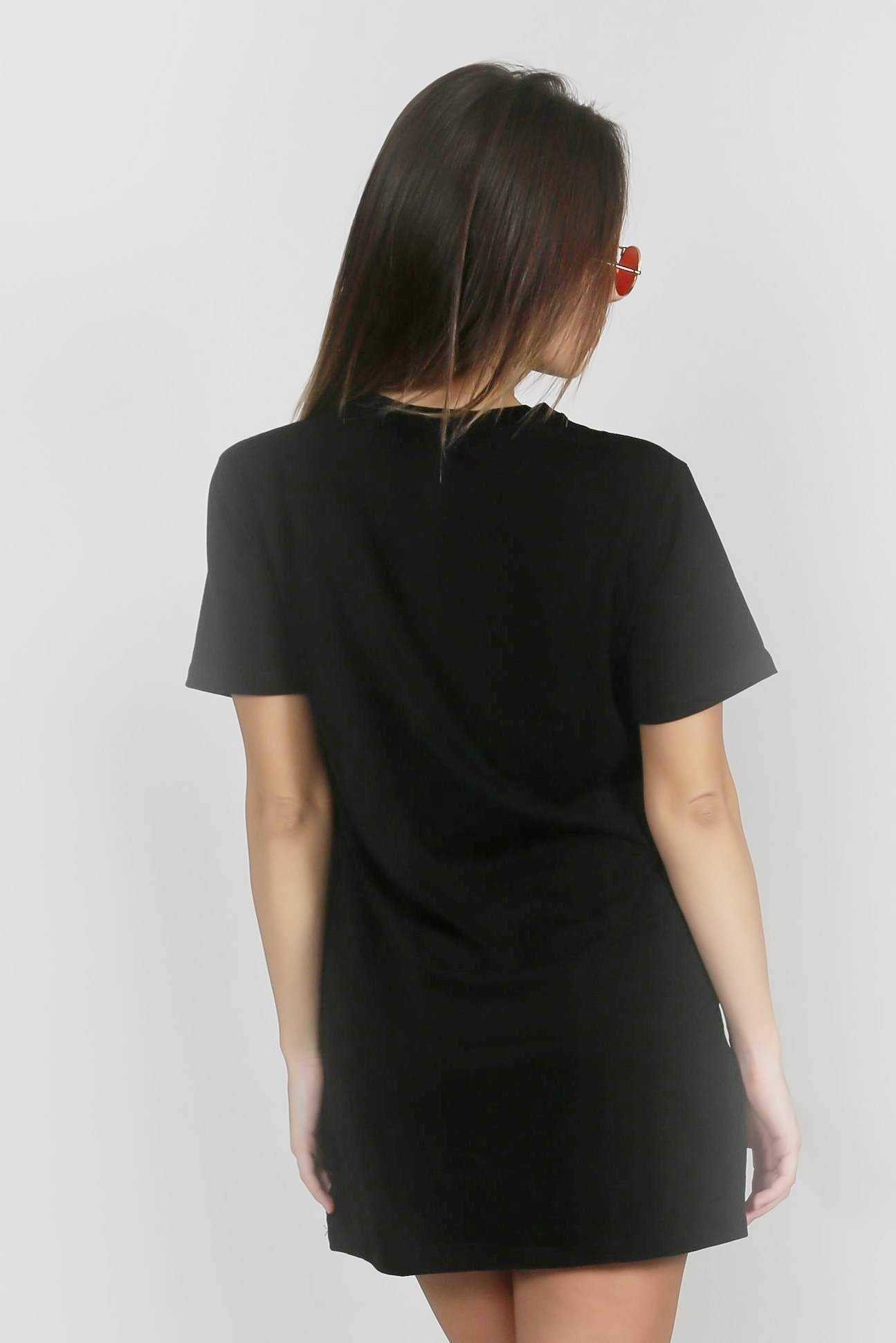 Little Things T-Shirt Dress Black | Raw Orange