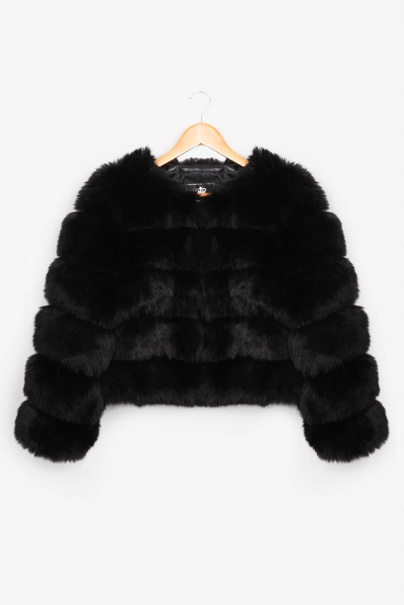 Faux Fur Jacket - Black | Raw Orange