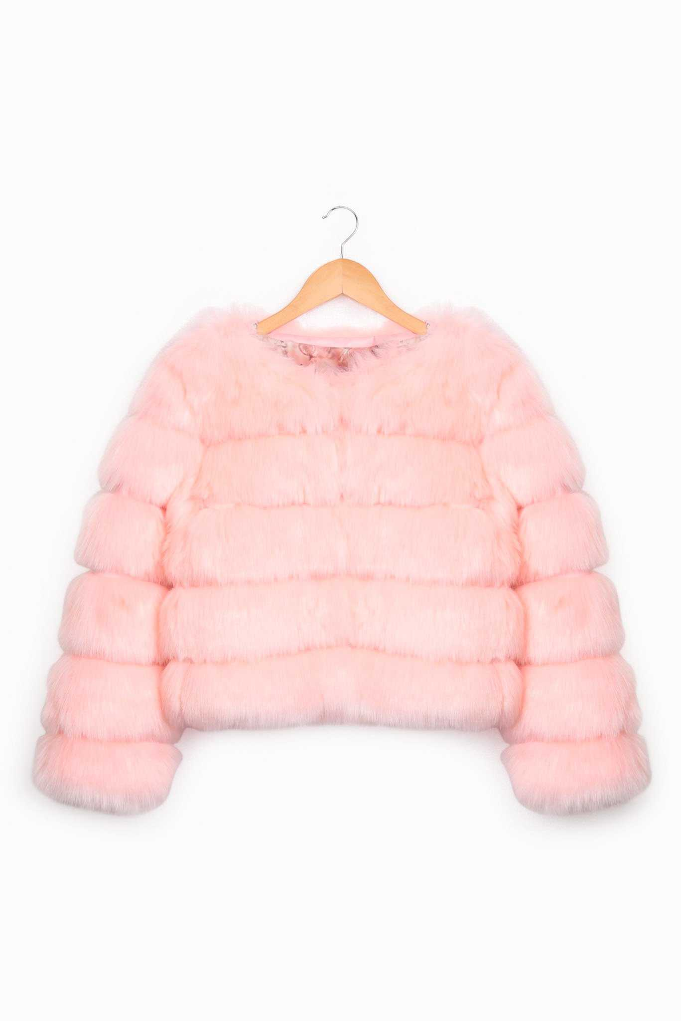 Faux Fur Jacket - Pink | Raw Orange
