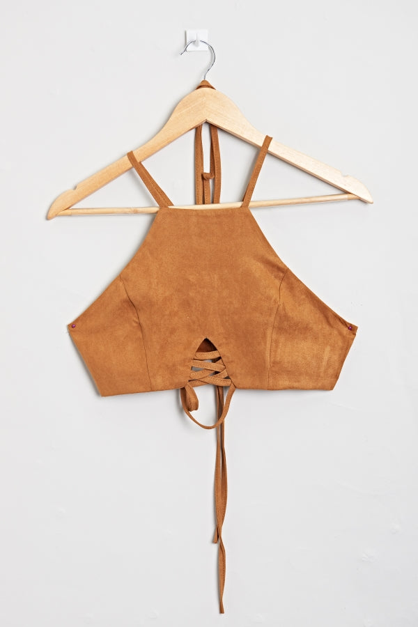 Suzzie Suede Crop Top | Raw Orange