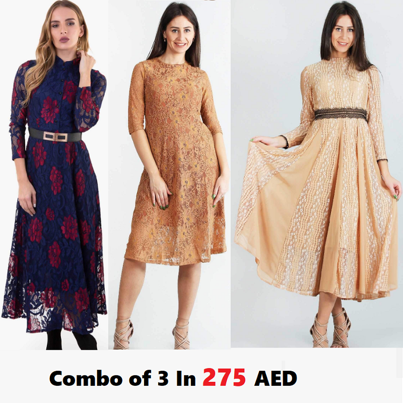Combo Of 3 Dresses : Red on blue, Dark Brownish Lace Dress, and Lacey Massey Light Brown Dress In Just 275 AED | Raw Orange