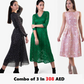Combo Of 3 Dresses : Black, Green and Fit and Flare Prom Dress In Just 308 AED | Raw Orange