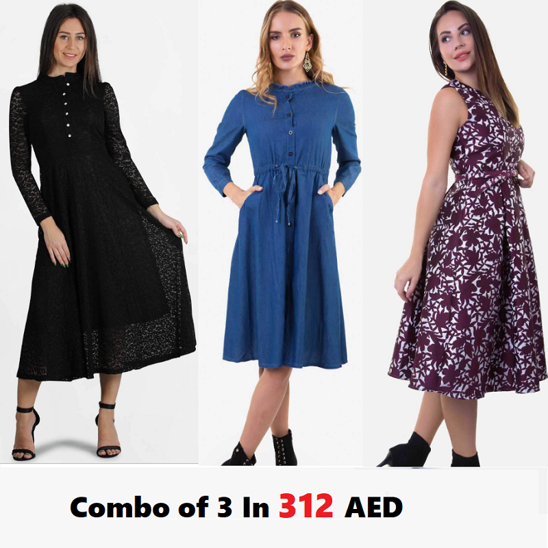 Combo Of 3 : Black, Denim Dress and Floral Dress In 312 AED | Raw Orange
