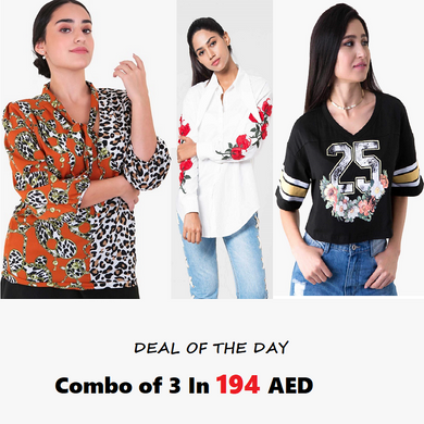 Combo Of 3 : Formal White Blouse, Mix Printed Blouse and Sporty Black Crop Top In 194 AED | Raw Orange