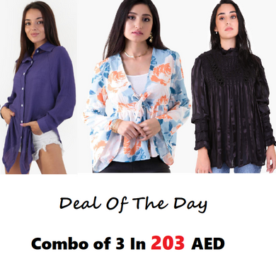 Combo Of 3 : Purple Shirt, Floral Top and Black Top In 203 AED | Raw Orange