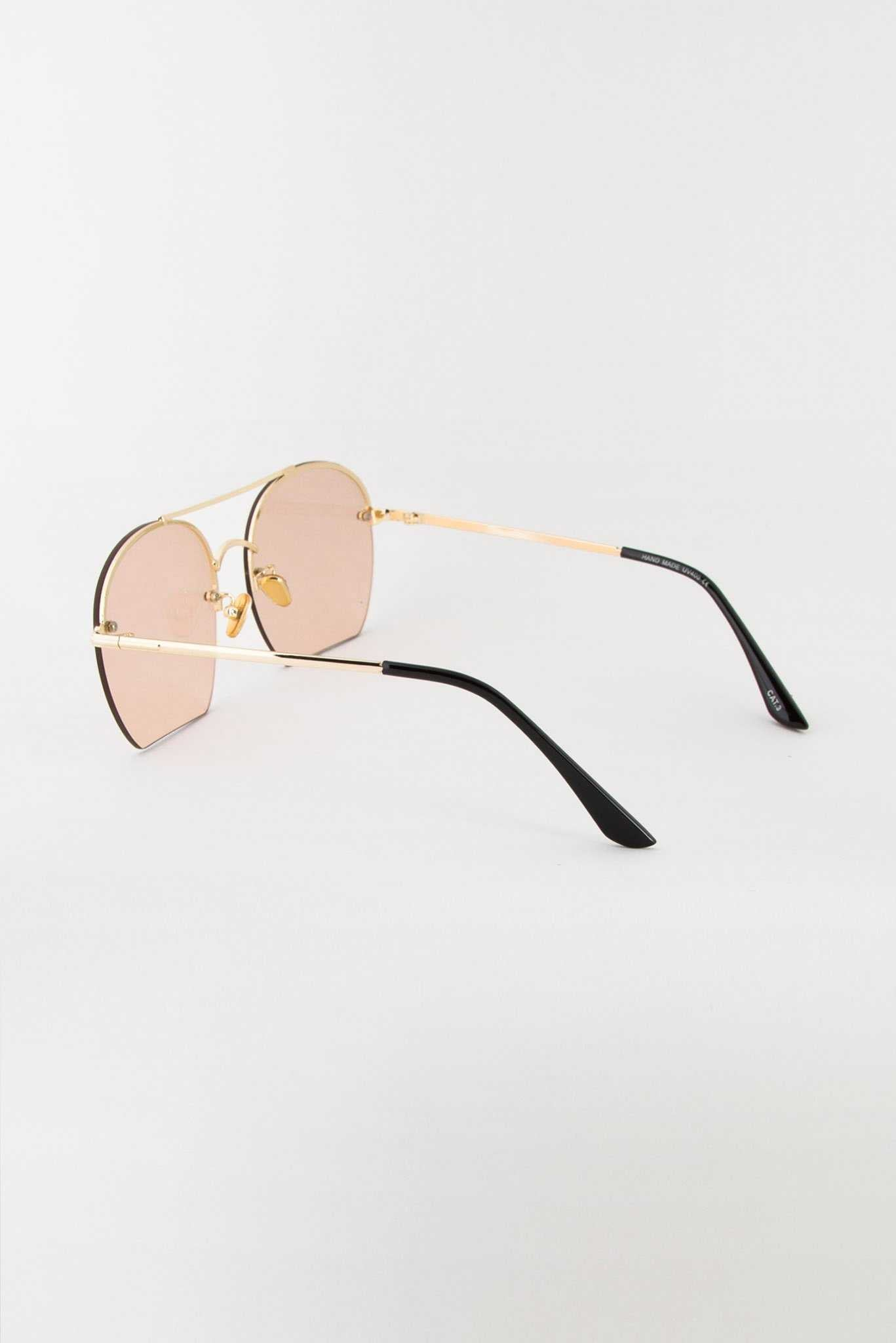 Half-Rim Brown Sunglasses | Raw Orange