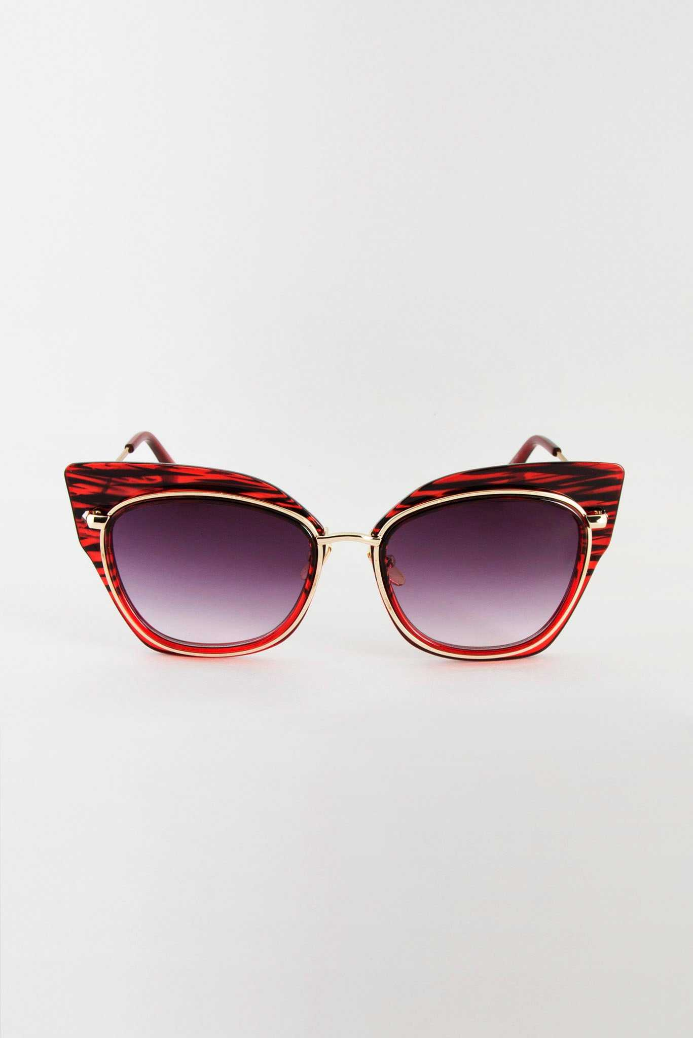 Stripped Red Frame Sunglasses | Raw Orange