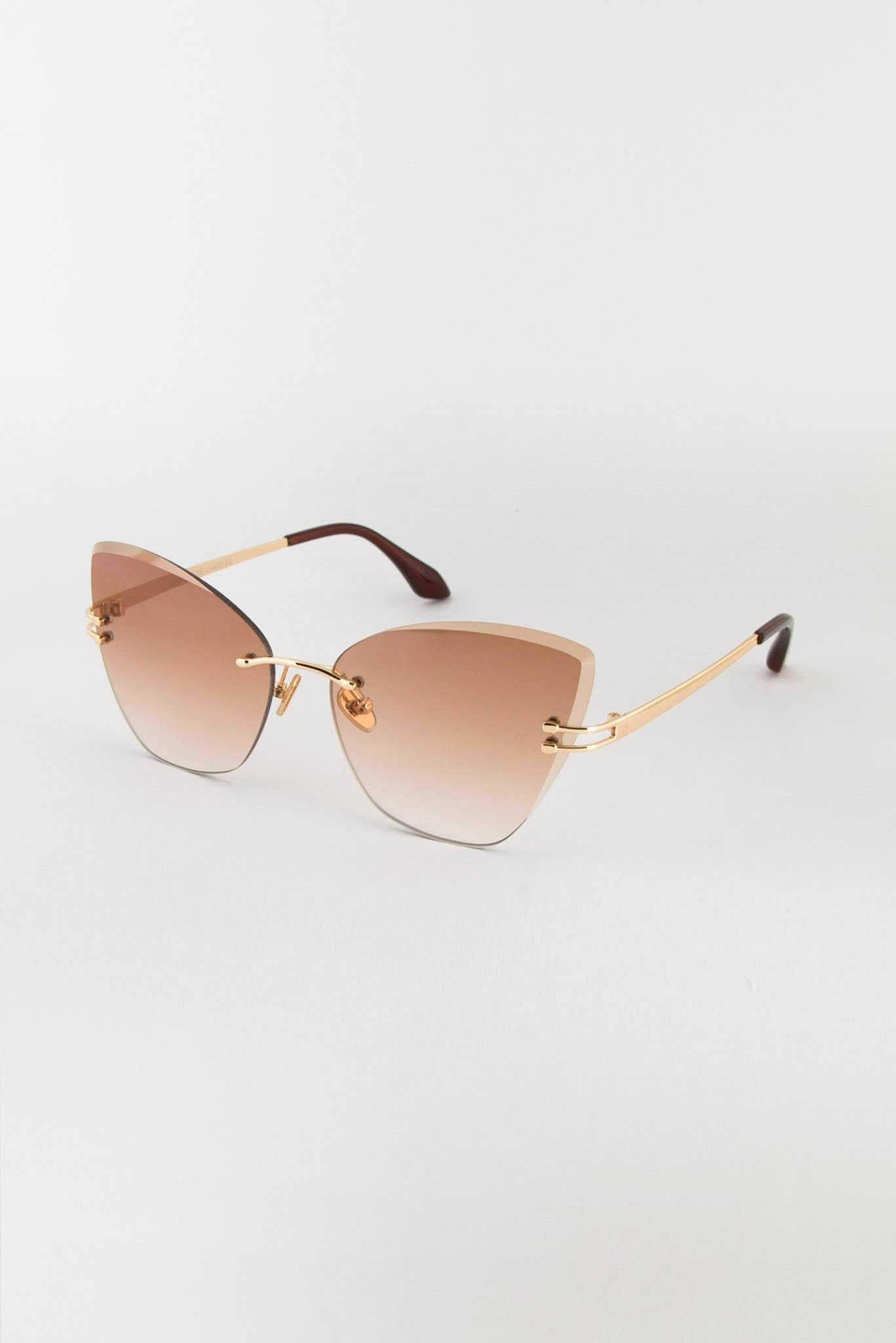 Brown Rimless Sunglasses | Raw Orange