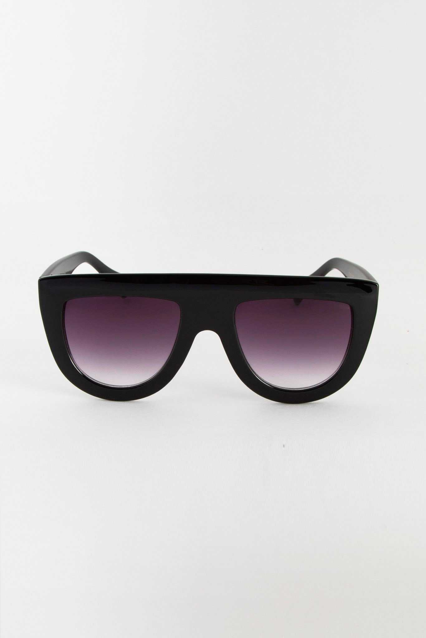 Black Solid Bridge Sunglasses