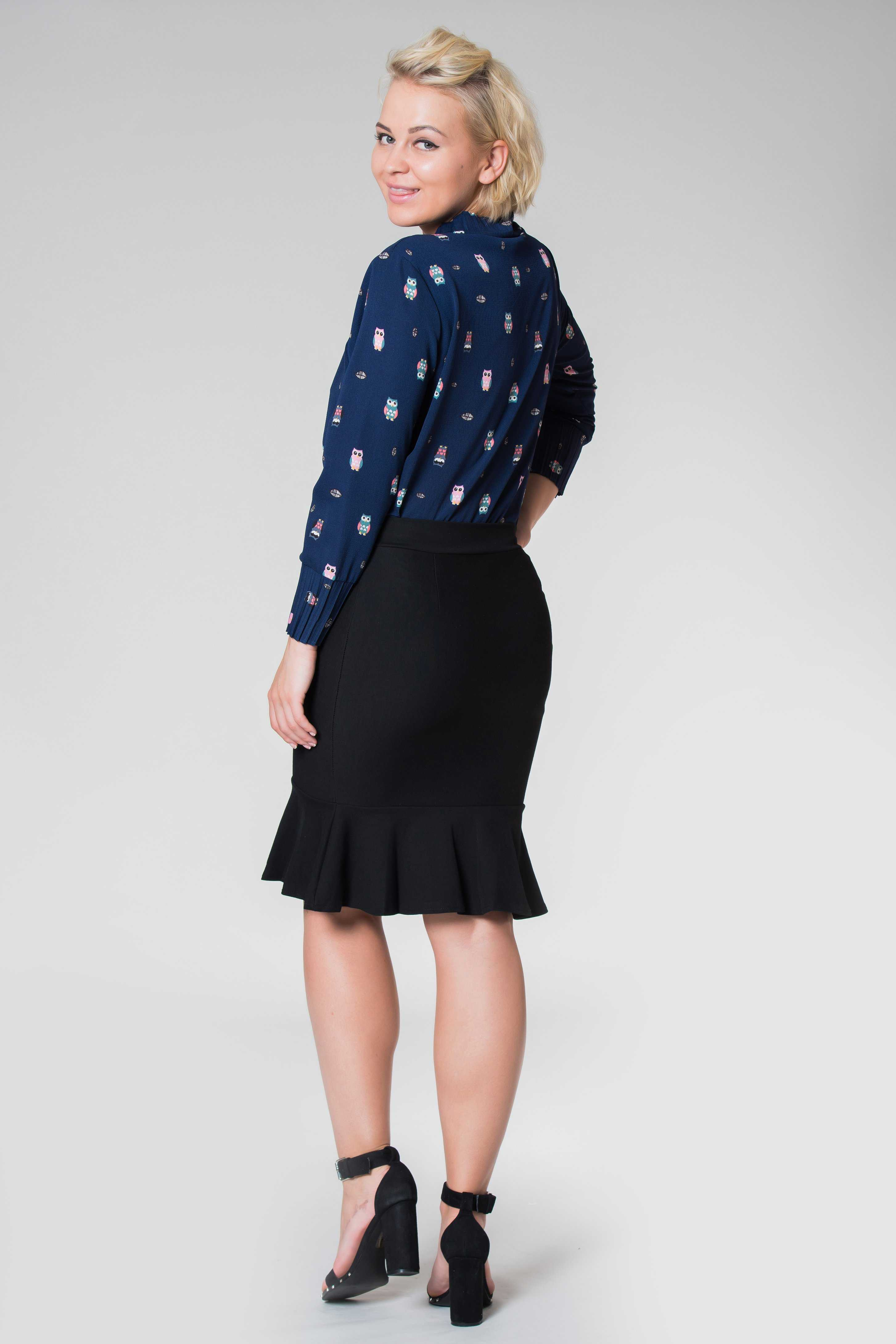 Ruffled Hem Short Skirt Black