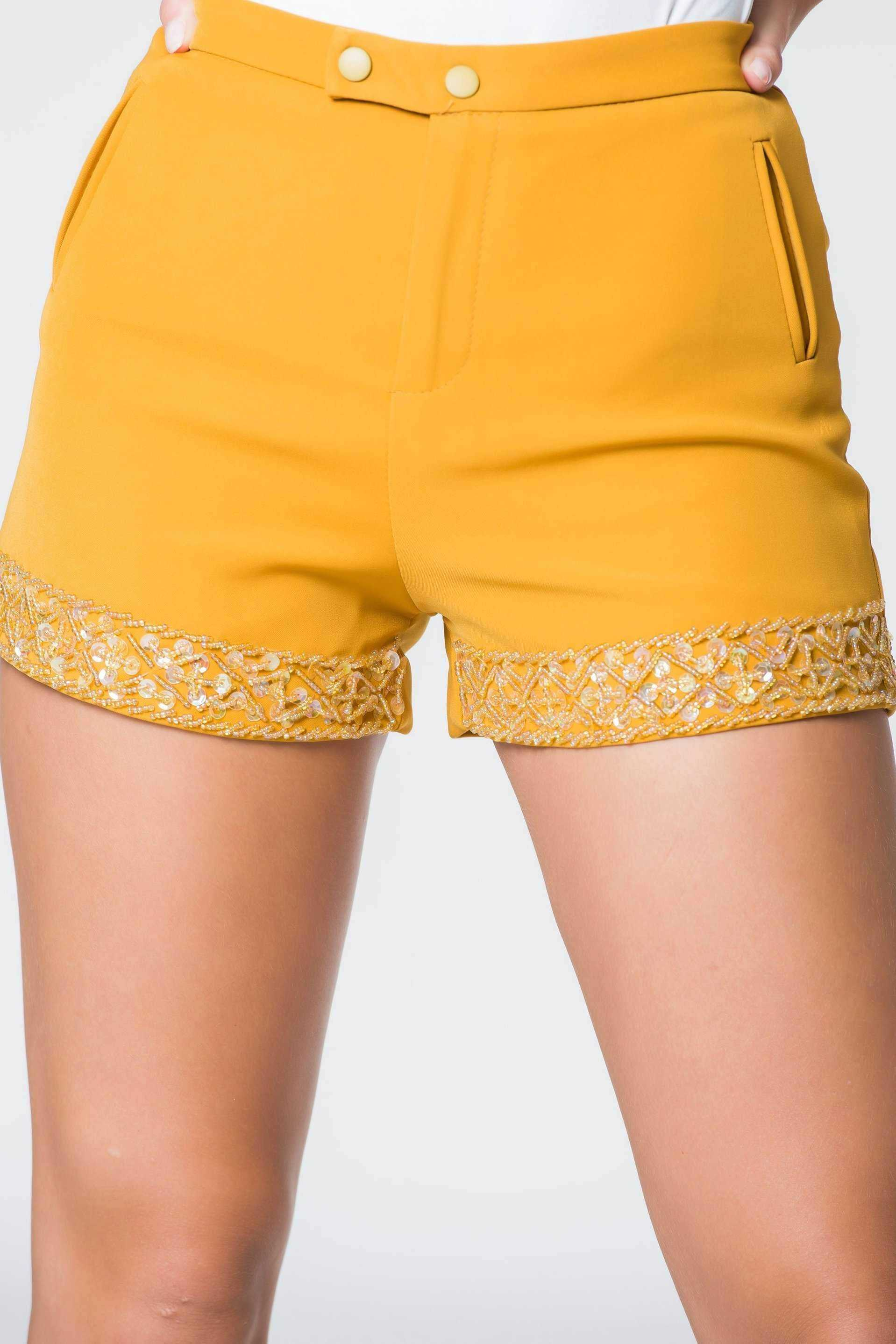 Mustard Sequin Shorts | Raw Orange