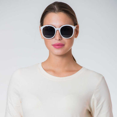 White Frame Round Sunglasses