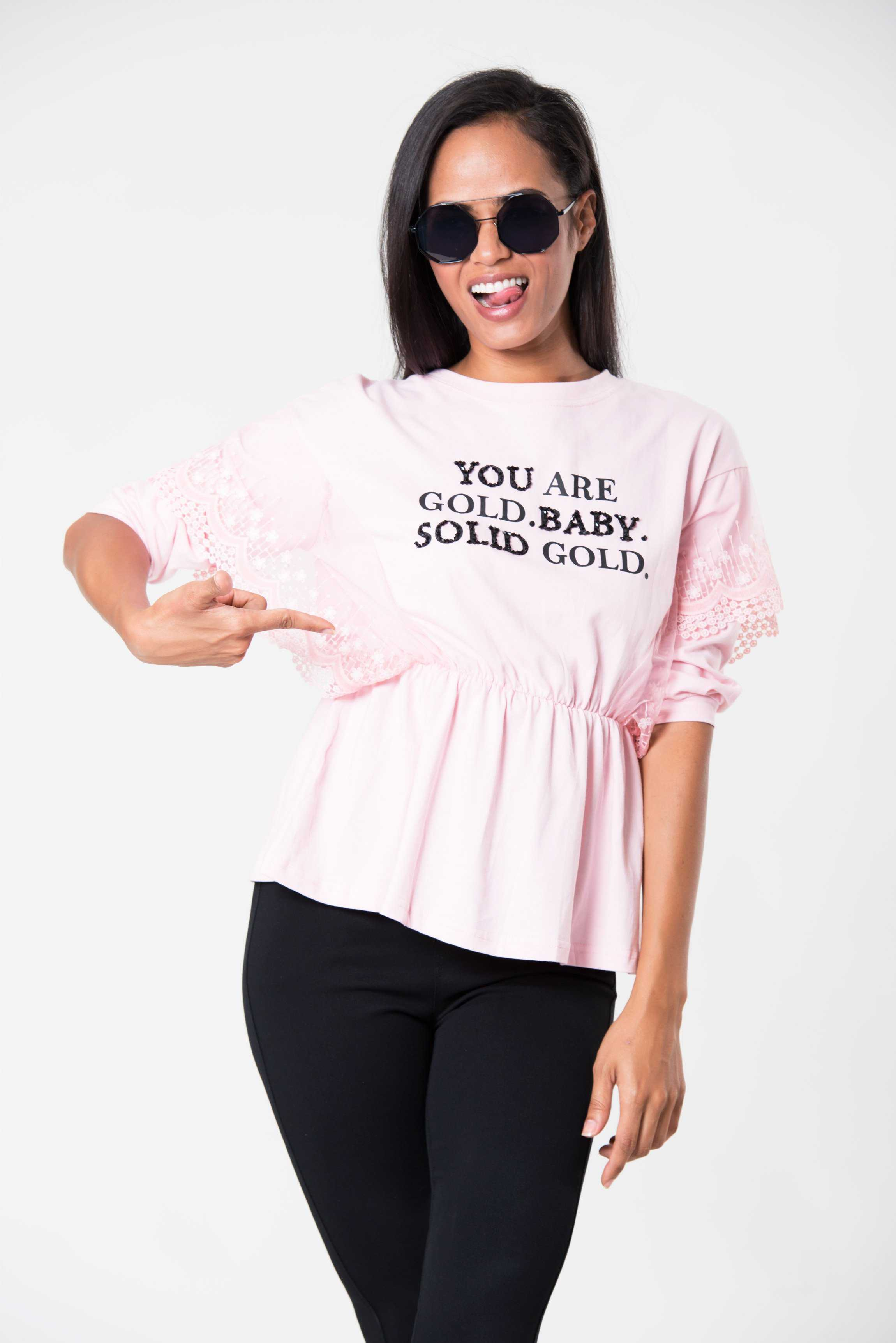 Gold Baby Tee Pink