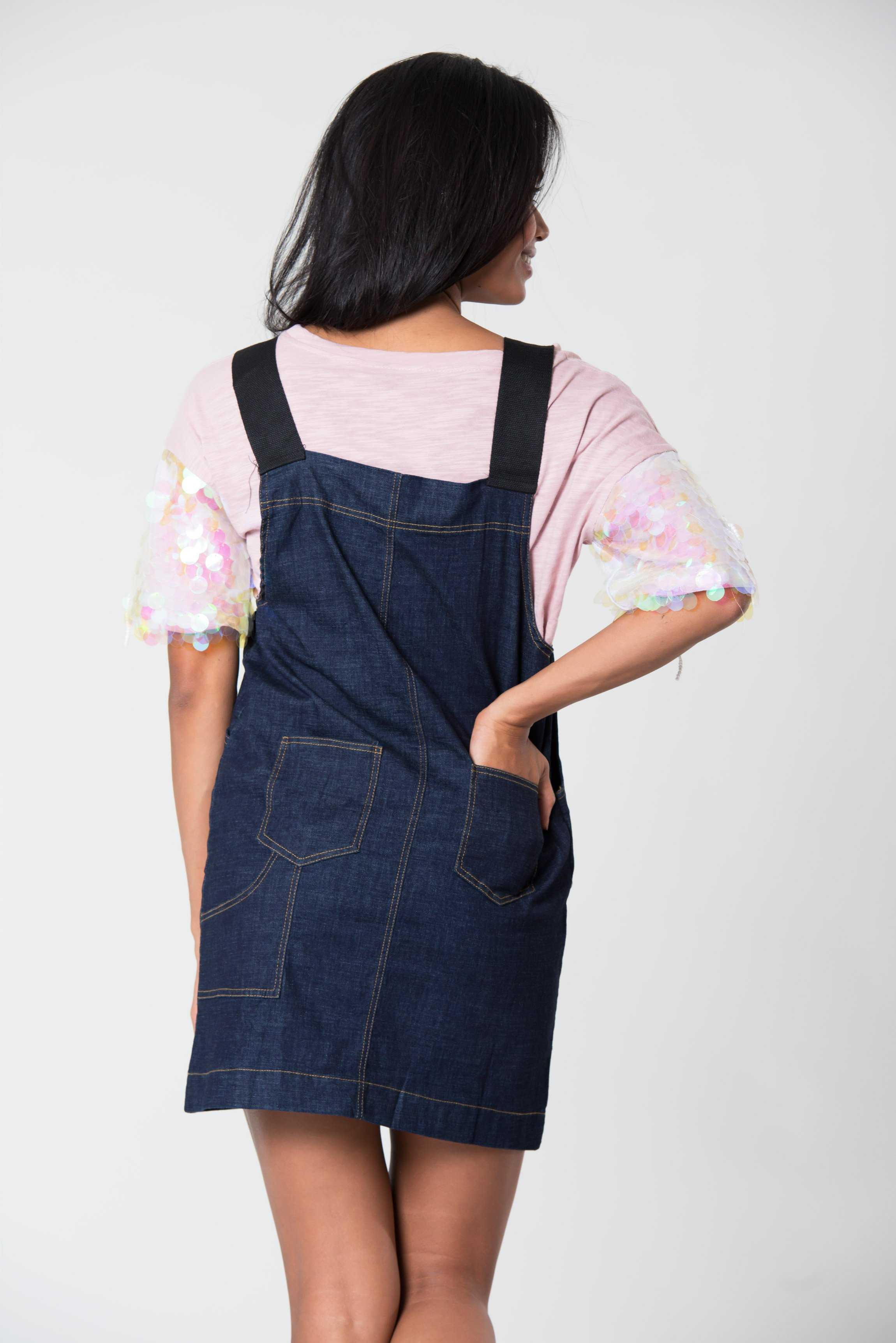 Short Denim Dungarees Blue | Raw Orange