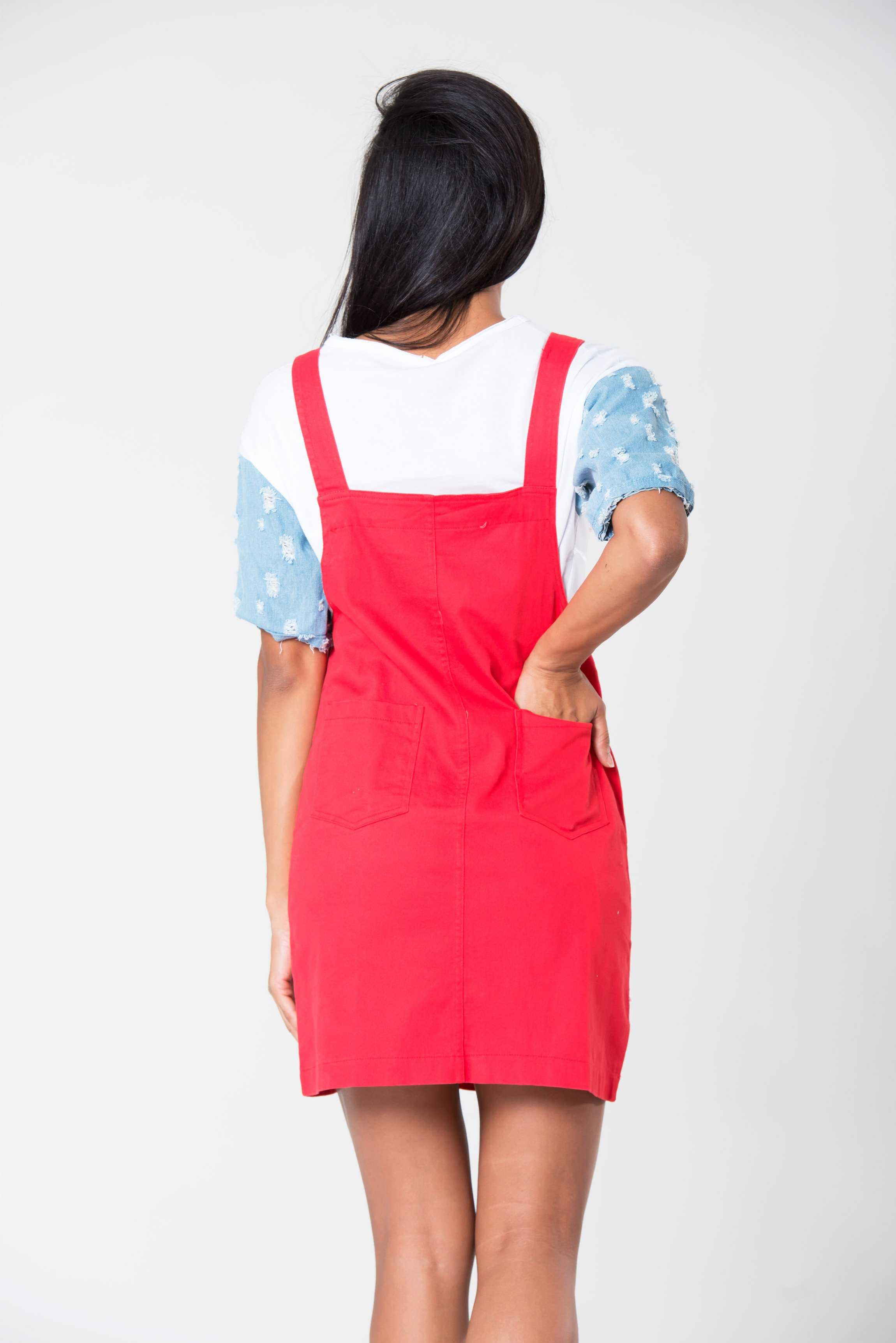 Red Short Denim Dungarees | Raw Orange