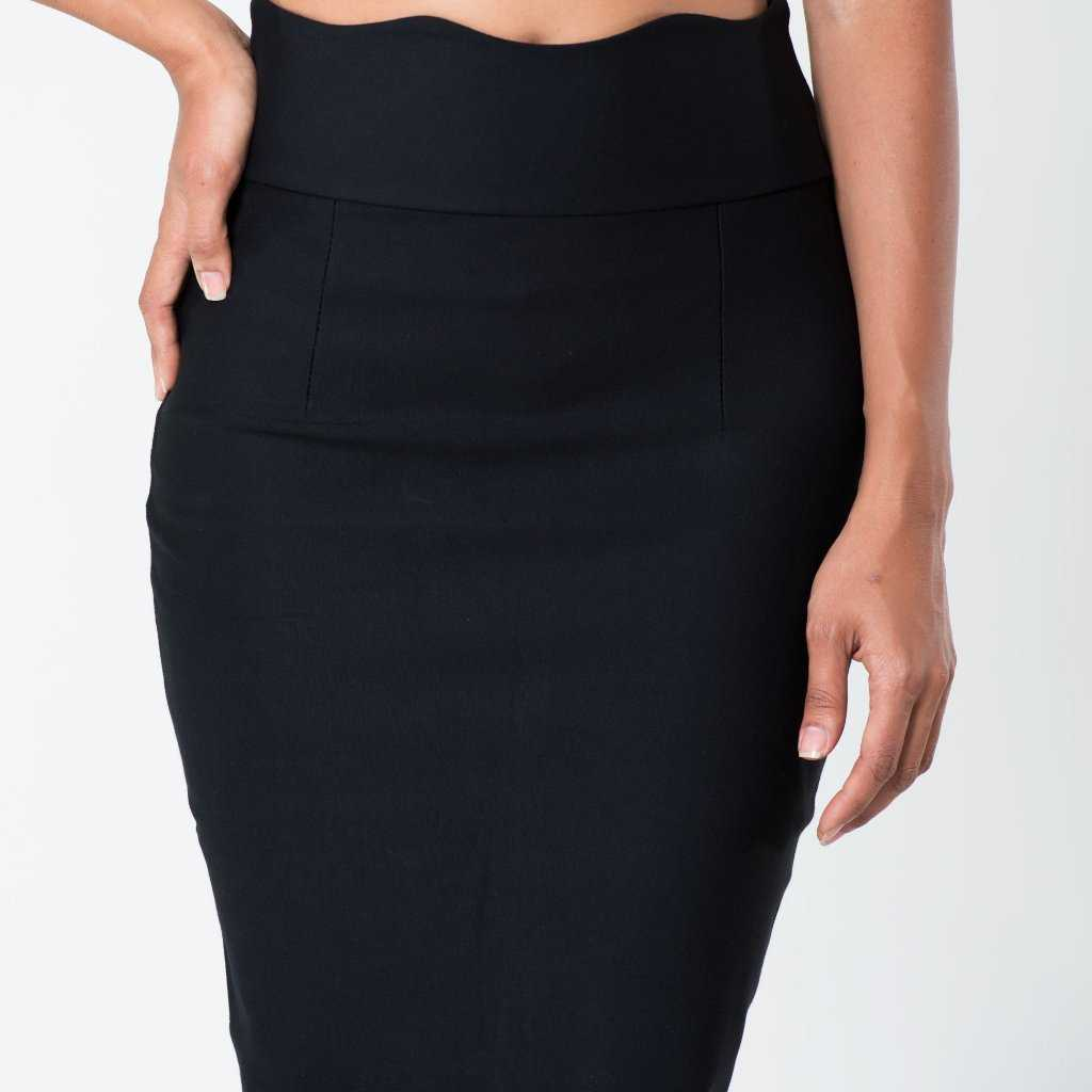 Ruffled Long Waist Skirt Black | Raw Orange