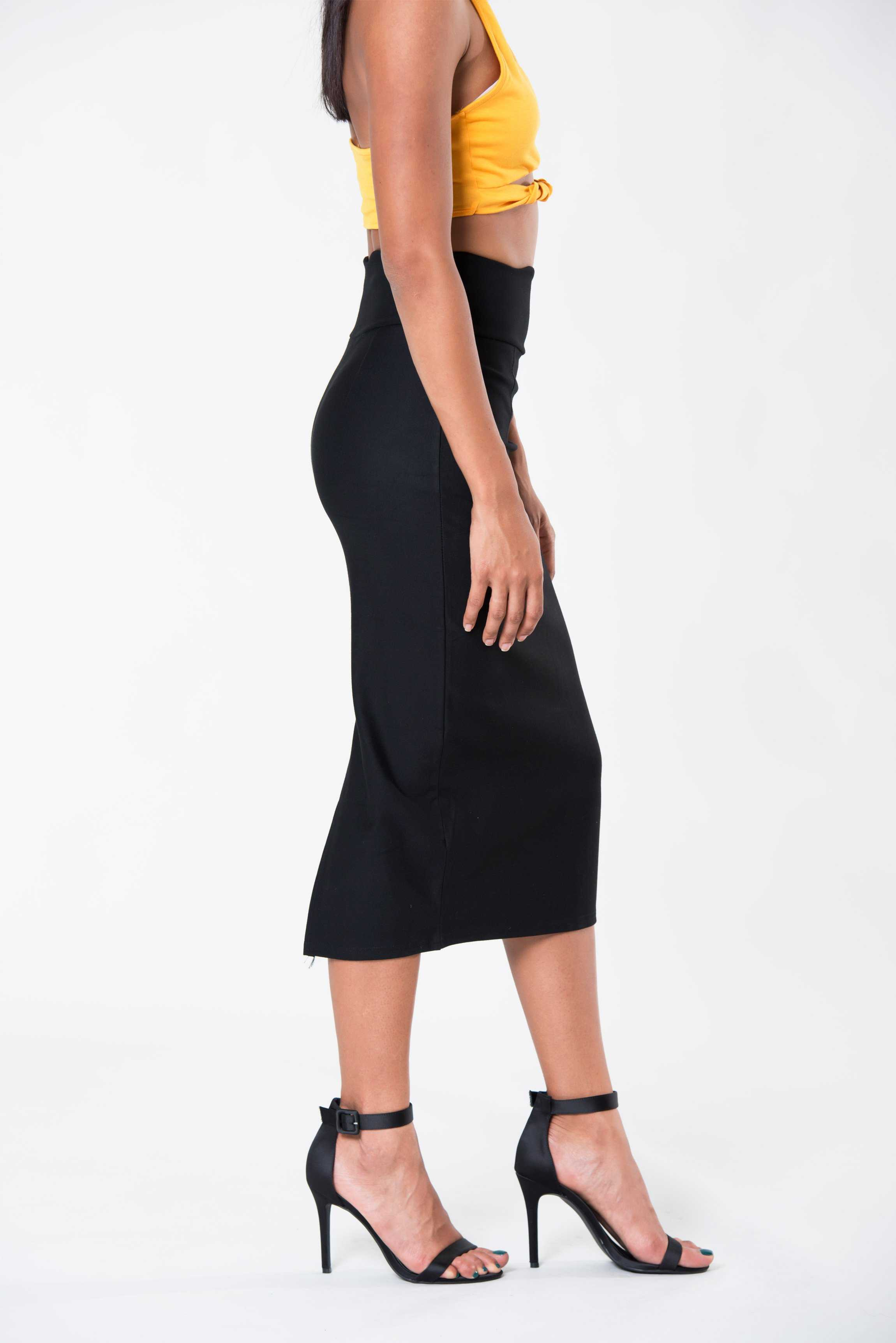 Ruffled Long Waist Skirt Black