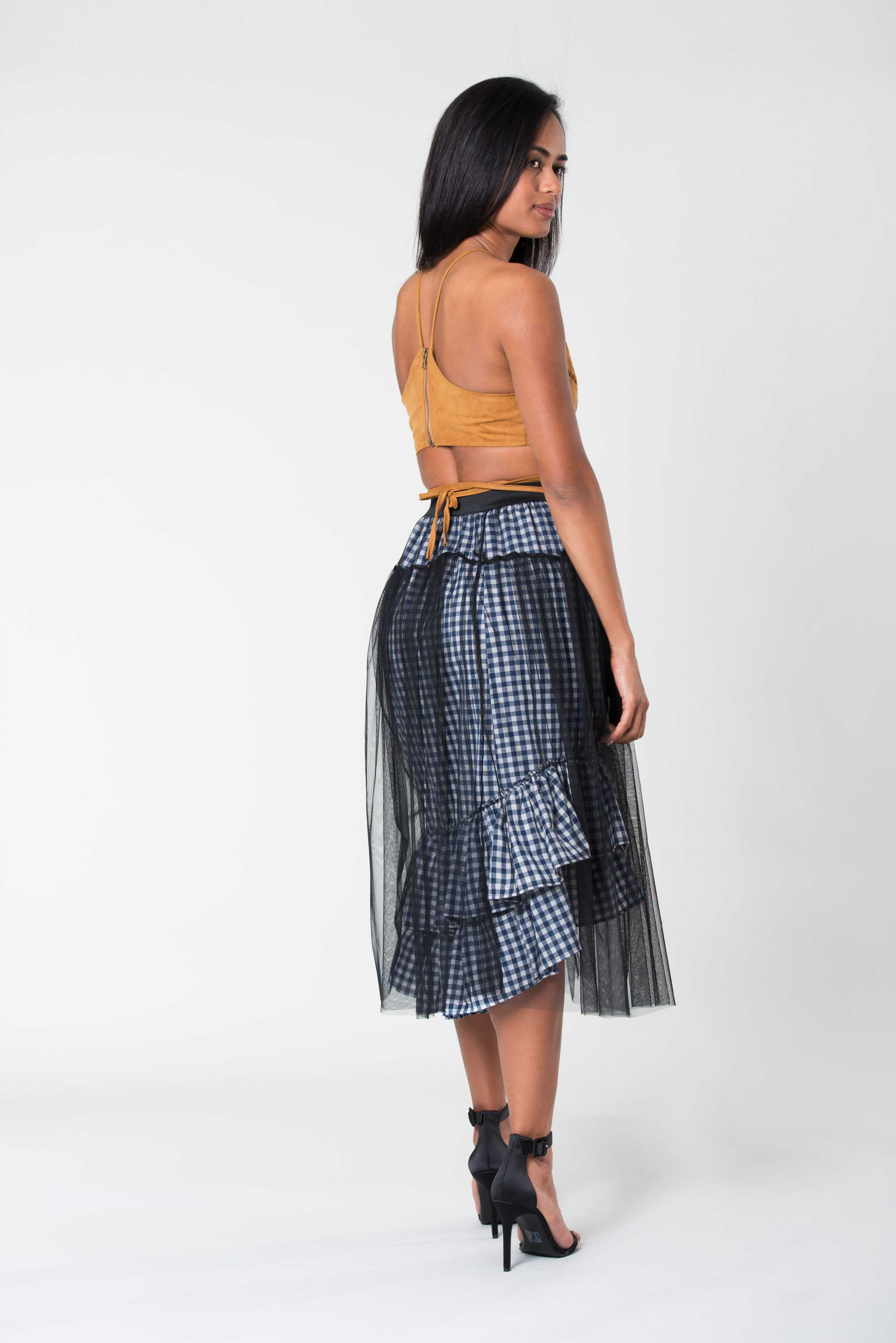 Mesh Skirt Checkered | Raw Orange