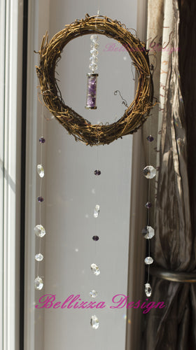 Amethyst Amulet Crystal Wreath Sun Catcher