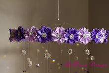 Purple Satin Flower Crystal Mobile