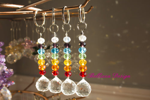 Chakra Coloured Crystal with Feng Shui Prism Crystal Key Attachments