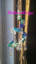 Large swirl, over 300 crystals and beads, with 30mm Feng Shui crystal Prism and 5 Chandelier crystals
