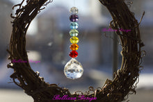 Chakra Wreath Crystal Sun Catcher with Feng Shui Crystal Prism pendant.