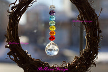 Chakra Coloured Crystal Wreath with Feng Shui Prism and hanging crystals