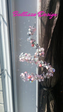 Medium Pink and Gray Swirl with over 200 Crystals and Beads.