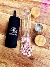 Bamboo & Glass Tea Infuser/ Water Bottle with Rose Quartz Crystals