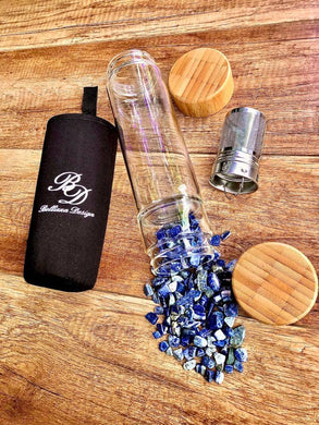 Bamboo & Glass Tea Infuser/ Water Bottle with Lapis Lazuli Crystals