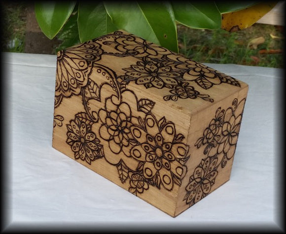 Flower/ Henna Style Recipe Box, Tarot Box, Keepsake Box
