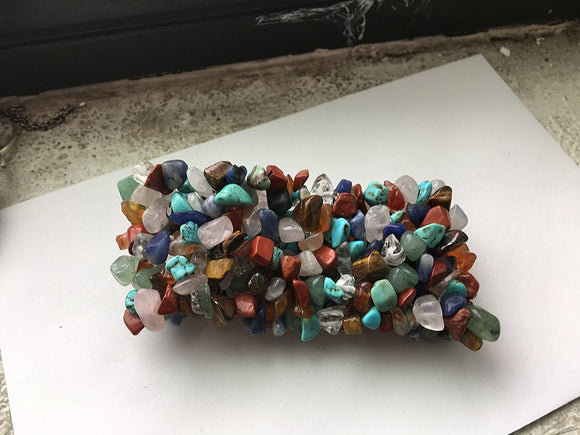 Multi-Stone Stretch Cuff Bracelet