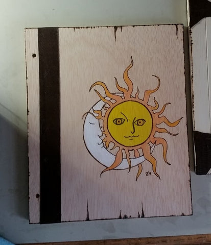 Moon Sun 12 x 11 Wooden Book Of Shadows
