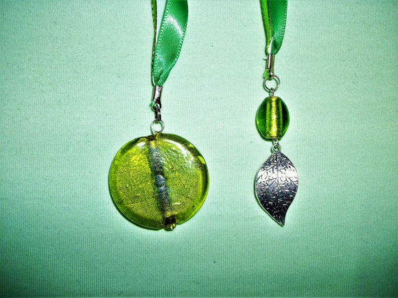 Green bookmark with green pendant