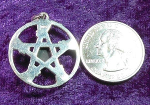 SS Besom Pentacle Pendant w/ Onyx Center