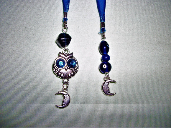 Blue bookmark with blue beads and charms