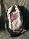 Embroidered Bird Skull/Flowers Motif Pouch
