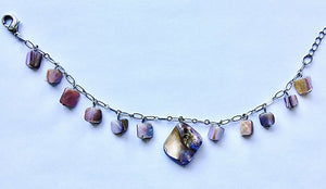 Purple and Tan Stone Charm Bracelet