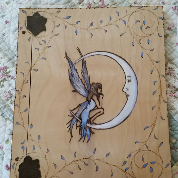 Blue Fairy Moon Expandable Wooden Book Of Shadows