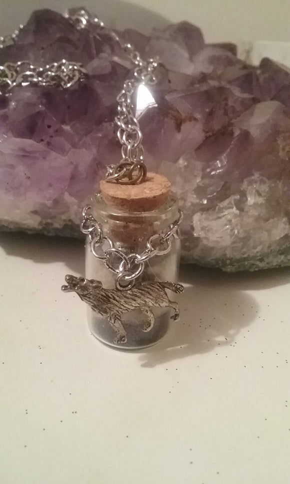Wolf Totem Charmed Bottle Necklace
