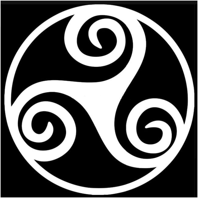 Three Armed Spiral Decal - White