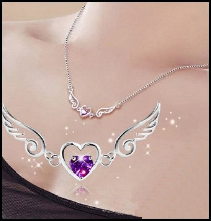 Purple Gem Winged Heart Necklace