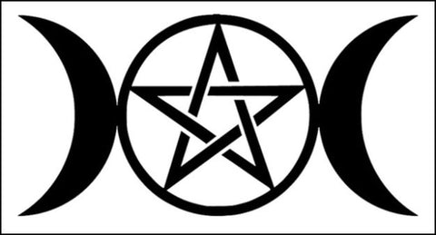 Triple Goddess Pentacle Decal - Black