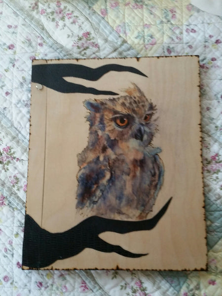 OWL  Totem 12 x 11 inch Book Of Shadows