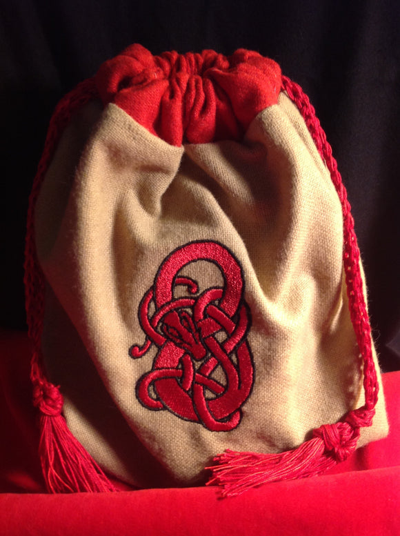 Embroidered Viking Serpent Wool Pouch