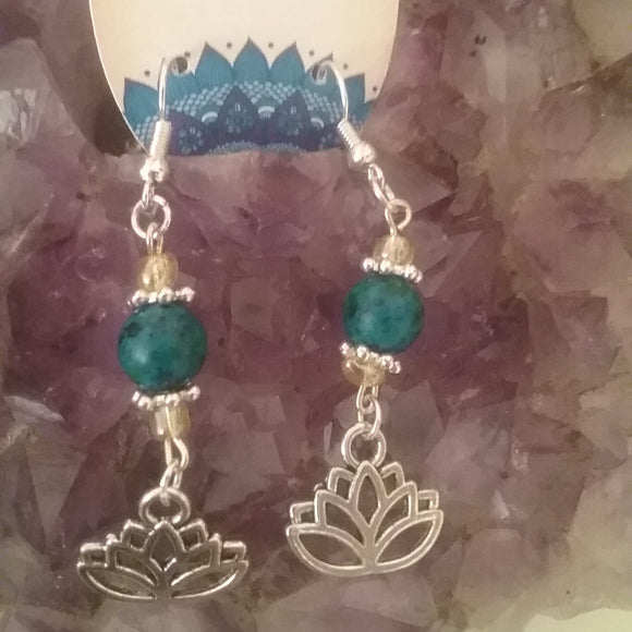 Gemstone Lotus Earrings