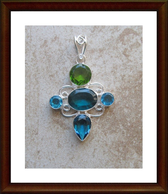 Blue & Green Crystal Sterling Silver Pendant